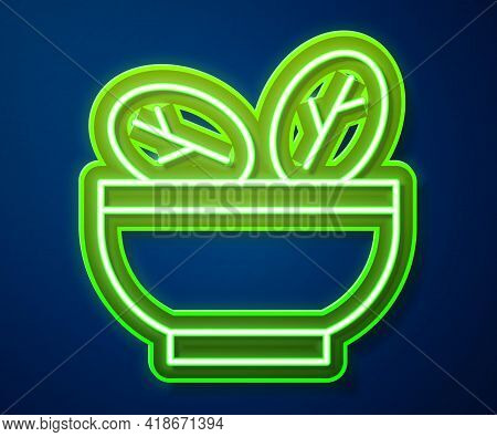 Glowing Neon Line Salad In Bowl Icon Isolated On Blue Background. Fresh Vegetable Salad. Healthy Eat