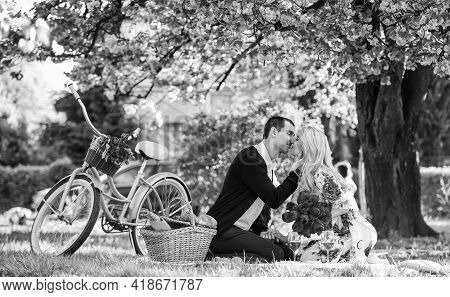 Lovers Sensual Kissing. My Treasure. Romantic Proposal. Enjoying Their Perfect Date. Couple Relaxing