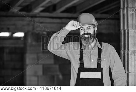Ready For Challenges. Improvement And Renovation. Brutal Man Builder. Engineer Builder In Uniform. M