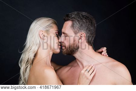 Sexy Couple In Love Of Woman And Man With Naked Body Kiss, Eroticism