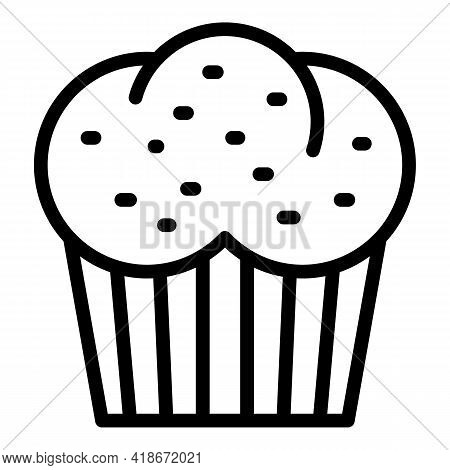 Creamy Muffin Icon. Outline Creamy Muffin Vector Icon For Web Design Isolated On White Background