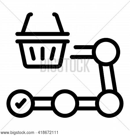 Shopping Process Icon. Outline Shopping Process Vector Icon For Web Design Isolated On White Backgro