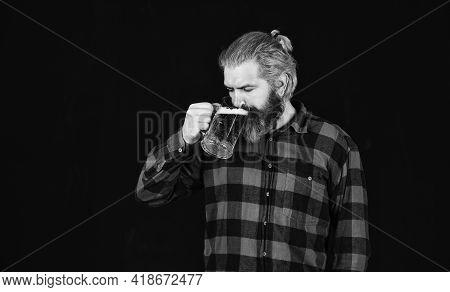 Thirst Needs Big Cold Beer. Brutal Bearded Man Drink Beer. Beer Pub. Bartender In Bar. Man Hold Mug