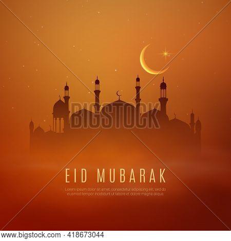 Eid Mubarak Ramadan Kareem Holiday Vector Greeting Card With Arabian City, Crescent Moon And Stars O