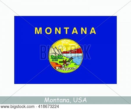Montana Usa State Flag. Flag Of Mt, Usa Isolated On White Background. United States, America, Americ