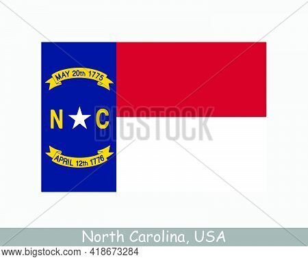 North Carolina Usa State Flag. Flag Of Nc, Usa Isolated On White Background. United States, America,