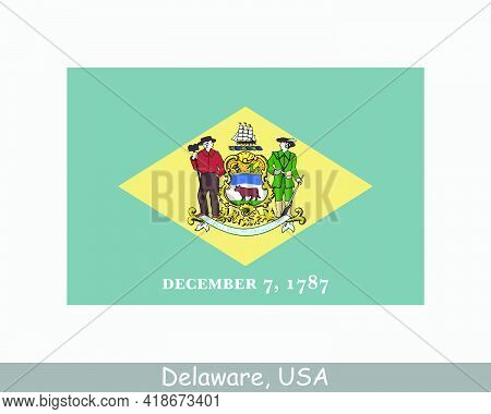Delaware Usa State Flag. Flag Of De, Usa Isolated On White Background. United States, America, Ameri