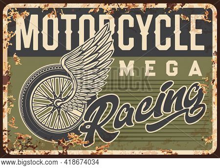 Classic Motorcycles Racing Cup Rusty Metal Plate. Motorsport Competition, Motorbikes Race Championsh