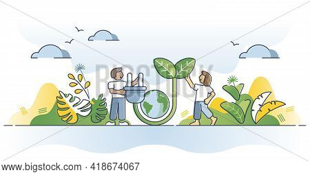 Green Electricity As Sustainable Ecological Power Consumption Outline Concept. Alternative Environme