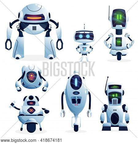 Cartoon Robots, Vector Cyborg Characters, Toys Or Bots, Artificial Intelligence Technology. Friendly