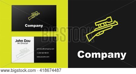 Logotype Line Sniper Rifle With Scope Icon Isolated On Black Background. Logo Design Template Elemen