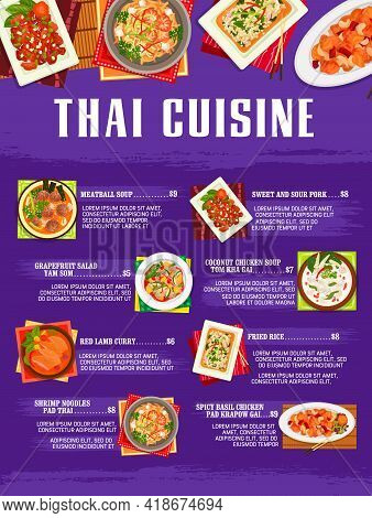 Thai Food Restaurant Menu Cover. Meatball And Coconut Chicken Tom Kha Gai Soup And Basil Chicken Pad