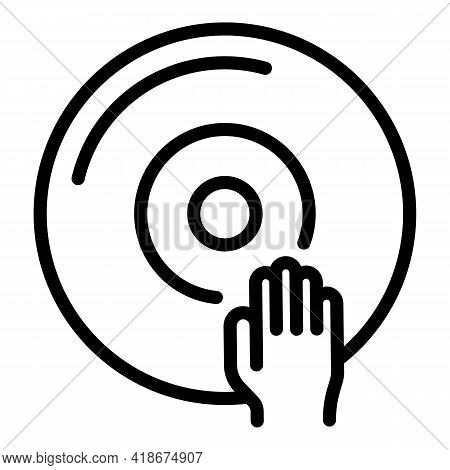 Dj Disc Icon. Outline Dj Disc Vector Icon For Web Design Isolated On White Background