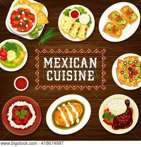 Mexican Cuisine Restaurant Meals Banner. Habanero Salsa, Mollete Sandwich And Con Carne Chilli, Chic