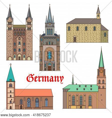 Germany Landmark Buildings, Architecture Castles, Gothic Palaces And Churches, Vector. Marienkirche