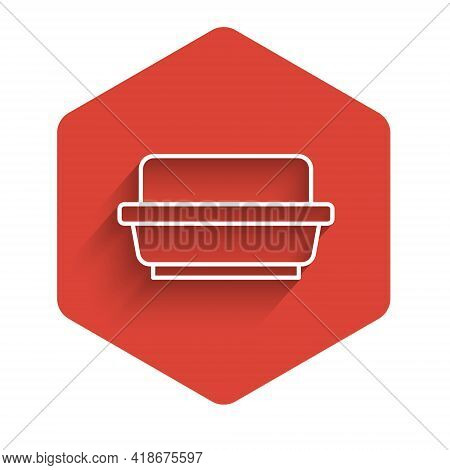 White Line Butter In A Butter Dish Icon Isolated With Long Shadow. Butter Brick On Plate. Milk Based