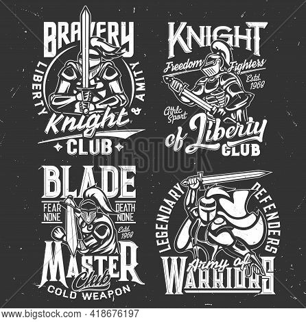Knight Warrior Iron, Sword T-shirt Print, Sport Fighting Club Vector Emblem. Medieval Knight Warrior