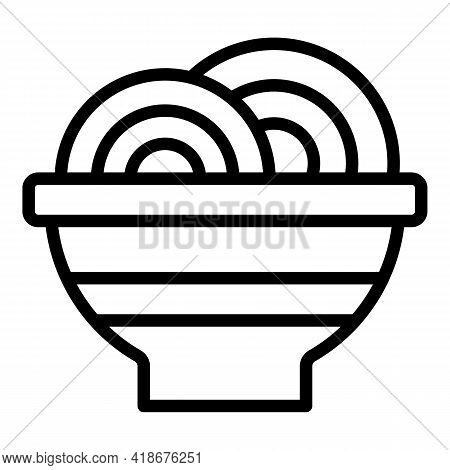 Korean Udon Icon. Outline Korean Udon Vector Icon For Web Design Isolated On White Background