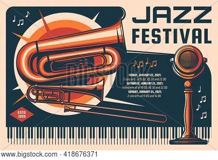Jazz Music Festival Retro Vector Banner. Live Music Concert, Musician Performance Vintage Poster, Fl
