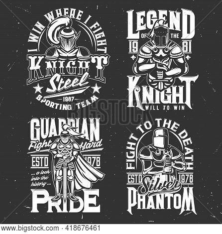 Knight Warrior With Sword T-shirt Print Sport Team Emblem, Vector Mockup. Heraldic Medieval Knight G