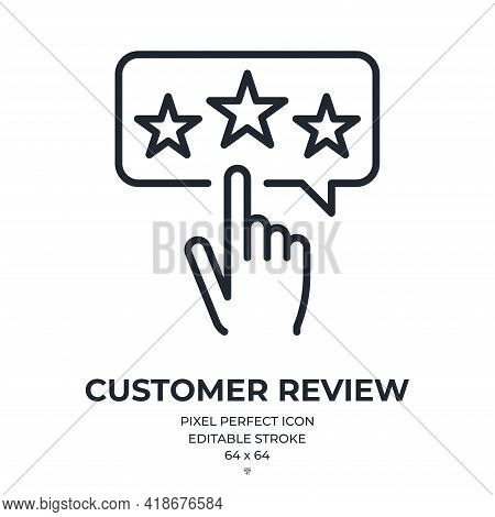 Customer Review And Positive Feedback Concept Editable Stroke Outline Icon Isolated On White Backgro