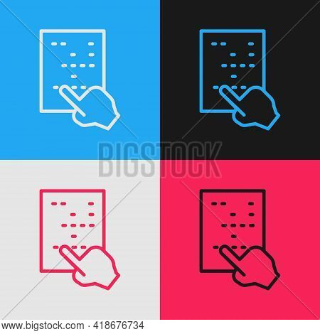 Pop Art Line Braille Icon Isolated On Color Background. Finger Drives On Points. Writing Signs Syste