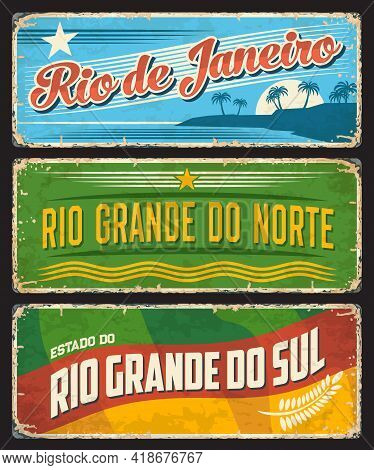 Brazil Sign Of Rio De Janeiro, Metal Grunge Plates Of Brazilian Districts And States, Vector. Rio Gr