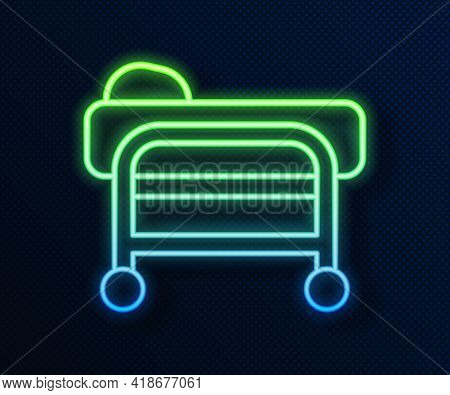 Glowing Neon Line Stretcher Icon Isolated On Blue Background. Patient Hospital Medical Stretcher. Ve