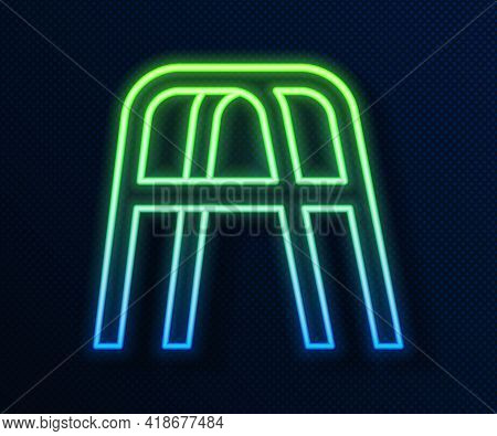 Glowing Neon Line Walker For Disabled Person Icon Isolated On Blue Background. Vector