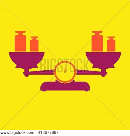 Balance Scales With Calibration Weights. Flat Style Vector Illustration Isolated On Yellow Backgroun