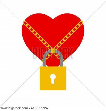 Locked Heart In Chains. Loyalty, Fidelity, A Womans Secret. Chastity Belt. Flat Style Vector Illustr