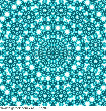 Tile Mosaic Seamless Pattern, Oriental Ethnic Patchwork, Tribal Mandala Design. Interior Decoration