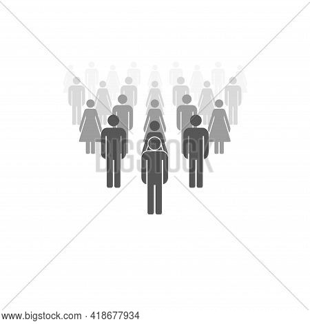 Big Team With A Leader Icon. Crowd To The Horizon Dissolving Away. Crowd Perspective. Men And Women