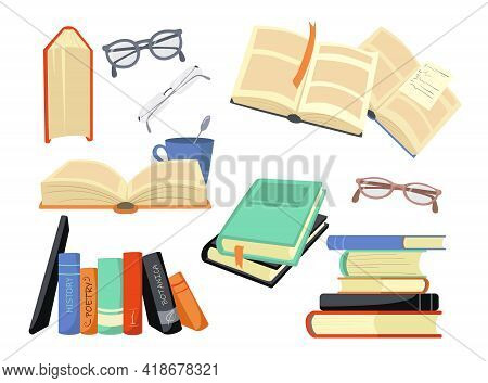 Cartoon Set Of Different Colorful Books And Reading Symbols. Flat Vector Illustration. History, Poet