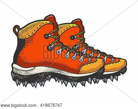 Climber Hiking Boots With Spikes Color Sketch Engraving Vector Illustration. Scratch Board Style Imi