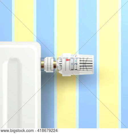 Realistic Heating Radiator With Temperature Knob On Room Wallpaper Background Vector Illustration