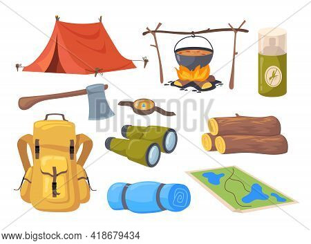 Cartoon Set Of Different Tourism Symbols. Flat Vector Illustration. Collection Of Camp Equipment As