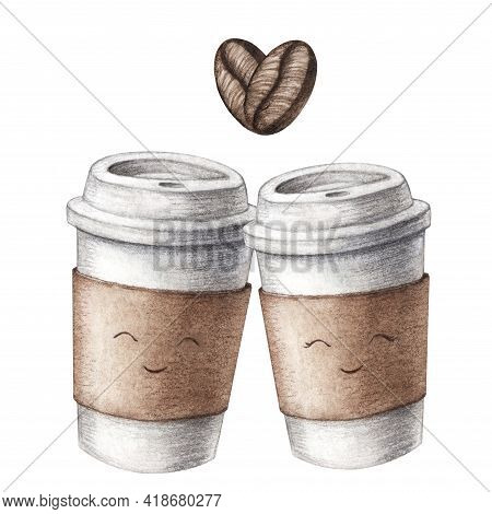 Hand Drawn Two Watercolor Cardboard Paper Cute Couple Coffee Cups Love, Take Away, Isolated On White