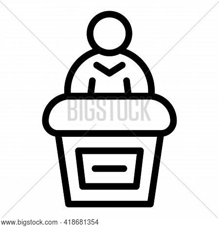 Public Speaking Icon. Outline Public Speaking Vector Icon For Web Design Isolated On White Backgroun