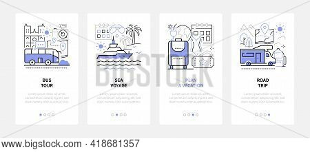 Traveling And Tourism - Modern Line Design Style Web Banners