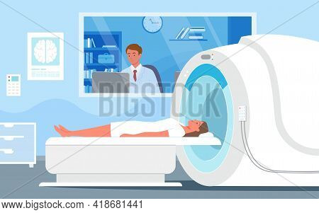 Cartoon Doctor Man Character Looking At Diagnosis Result Of Woman Patient Brain Scan On Computer Mon
