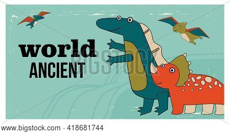 Funny Cute Dino Characters Poster Template. Cartoon Vector Illustration. Beautiful Dinos Template In