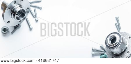 Vehicle Parts. Auto Motor Mechanic Spare Or Automotive Piece On White Banner Background. Set Of New