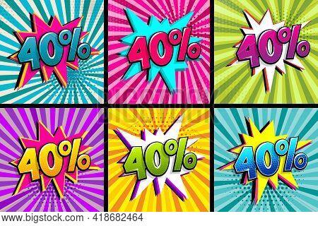 Comic Text 40 Percent Sale Set Discount. Colored Speech Bubble On Radial Background. Comics Book Exp