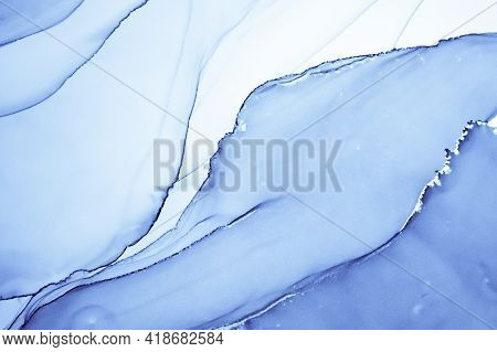 Ocean Ink Paint. Oil Flow Wallpaper. Indigo Abstract Print. Ink Painting. Watercolour Modern Wall. D