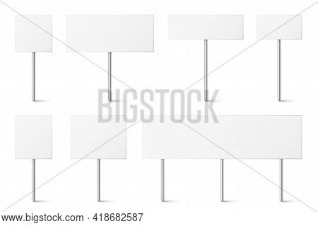 Blank Board With Place For Text, Protest Signs Set Isolated On White Background. Realistic Demonstra