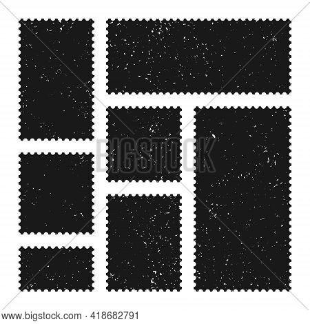 Black Blank Postage Stamps Collection. Old Grunge Sticky Paper Stamp. Vector Illustration.