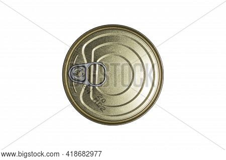 Tin Can With A Can Opener On A White Background Top View.canned Food In A Tin Can Sealed With An Ope