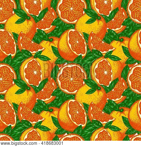 Vector Pattern With Bright Acidic Fluorescent Stylized Oranges And Green Leaves Tightly Adjacent To