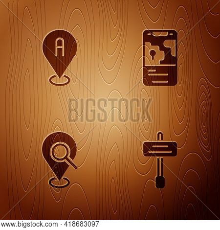 Set Road Traffic Sign, Location, Search Location And City Map Navigation On Wooden Background. Vecto